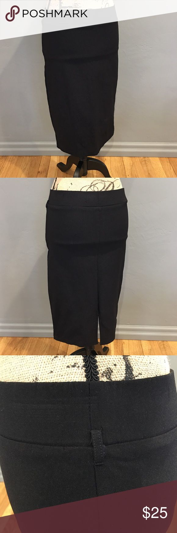 Boutique Stretch Black Pencil Skirt WORN ONCE! Boutique Stretch Black Pencil Skirt with belt loop detail and back slit. In perfect condition! Cheekie Boutique Skirts Pencil