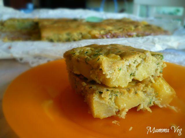 Mamma Veg: Torta-focaccia di ceci con patate e zucchine