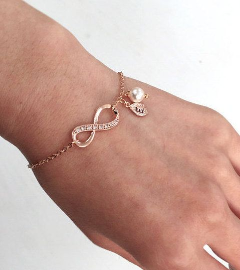 Rose Gold Infinity Armband Pink Gold Infinity von RomanticSilver