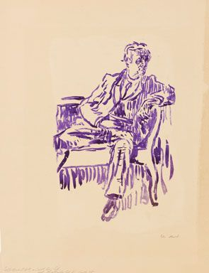 Edvard Munch, Self-portrait on Sofa, 1925. Hectograph on cardboard, 500 x 382 mm. Private collection© The Munch Museum/The Munch-Ellingsen Group/2013, ProLitteris, Zurich.