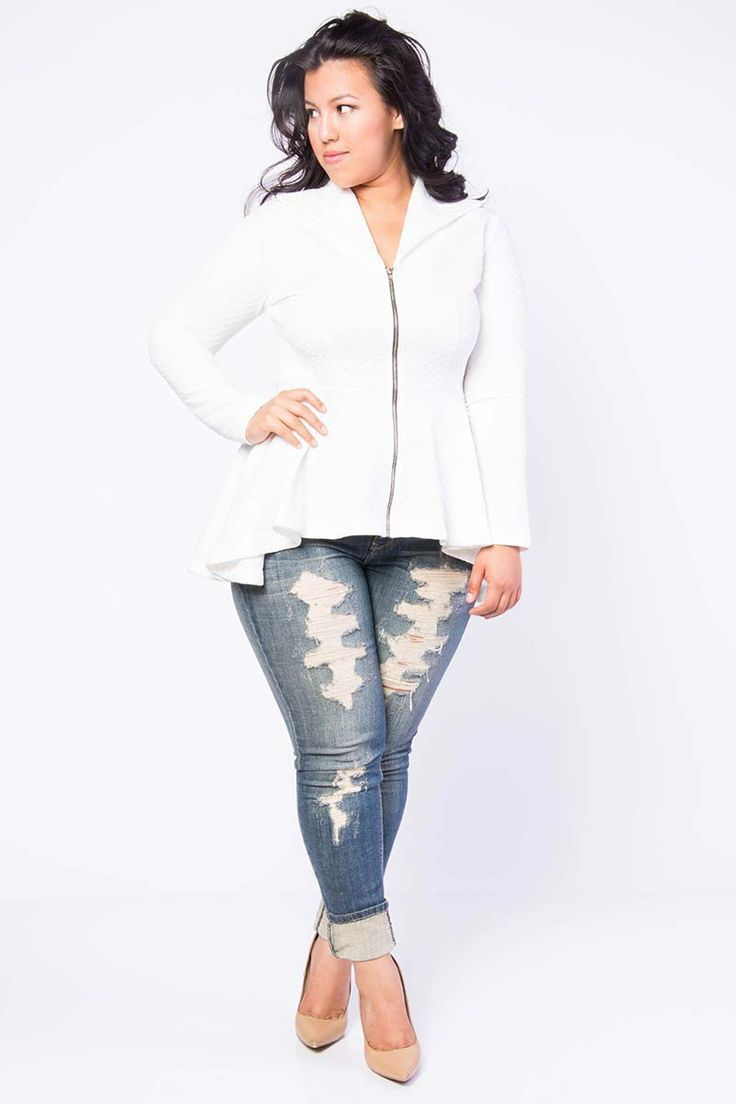 Plus Size Peplum Jacket - Available at www.limonadacouture.com for $30.00. Size 1x-3x