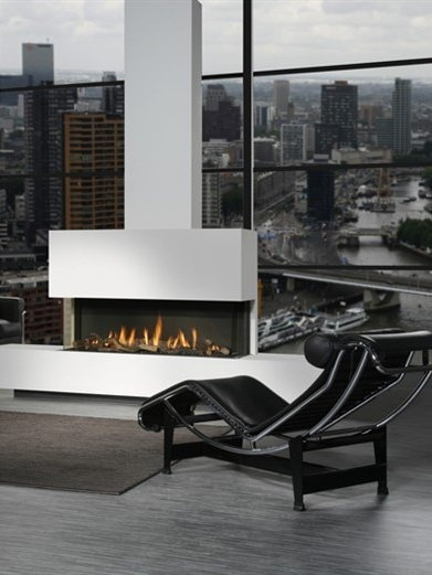 Gas Fireplace FRONTAL GLASS by DIM'ORA #fireplace #loungechair #interior