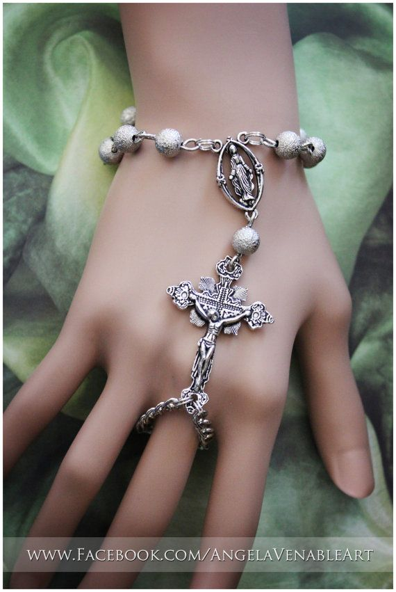 Hand Chain  Rosary Bracelet by AngelaVenArtwork on Etsy