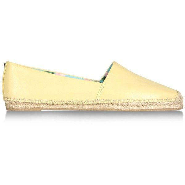 Sam Edelman Espadrilles ($38) ❤ liked on Polyvore featuring shoes, sandals, light yellow, flat leather sandals, leather espadrille sandals, square toe shoes, flat espadrilles ve leather shoes