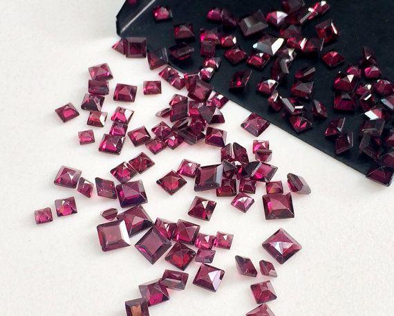 WHOLESALE 10 Pcs Garnet Square Gemstones Loose by gemsforjewels