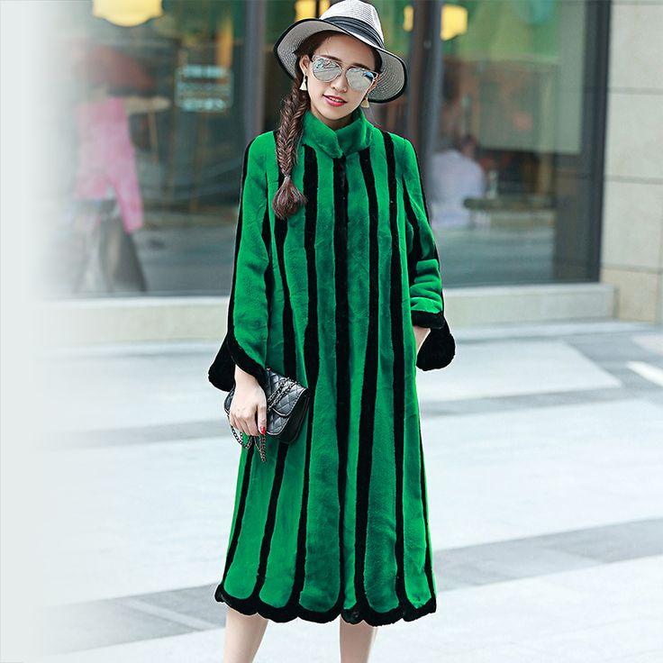 Nerazzurri 2017 Winter Women's Rabbit Fur Coat Warm Thick Plus Size XXXL 4XL 5XL Striped X-Long Leisure Faux Fur Coats Overcoat
