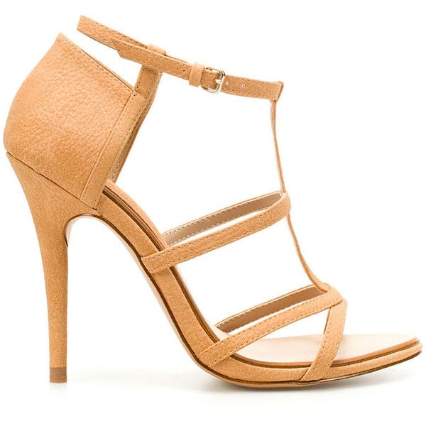 Zara Heeled Strappy Sandals (195 BRL) ❤ liked on Polyvore featuring shoes, sandals, heels, sandale, sapatos, zara, cream heeled shoes, fleece-lined shoes, strap heel sandals and strappy heeled sandals