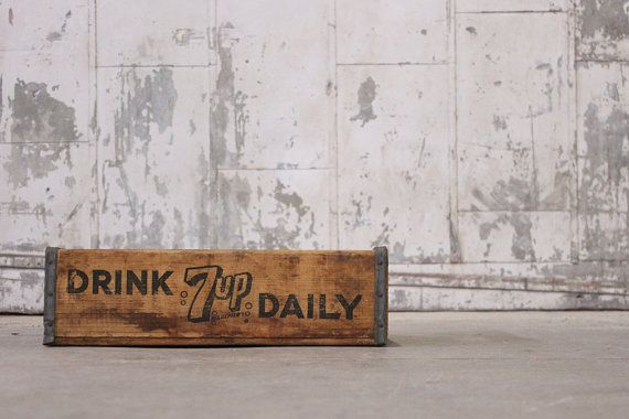 Vintage 1970's Drink 7up Daily Wooden Soda Crate @ MDQualityGoods via Etsy