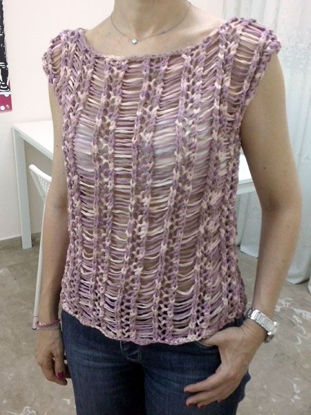 Πλεκτή μπλούζα με βαμβακερή κορδέλα.Σεινάριο Πλέξιμο με Βελόνες Δ΄Κύκλος