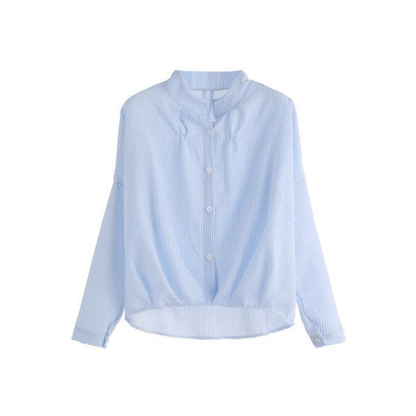 SheIn(sheinside) Blue Vertical Striped High Low Shirt ($14) ❤ liked on Polyvore featuring tops, blouses, blue, blue striped shirt, long sleeve shirts, long sleeve tops, button collar shirt and vertical stripe shirt