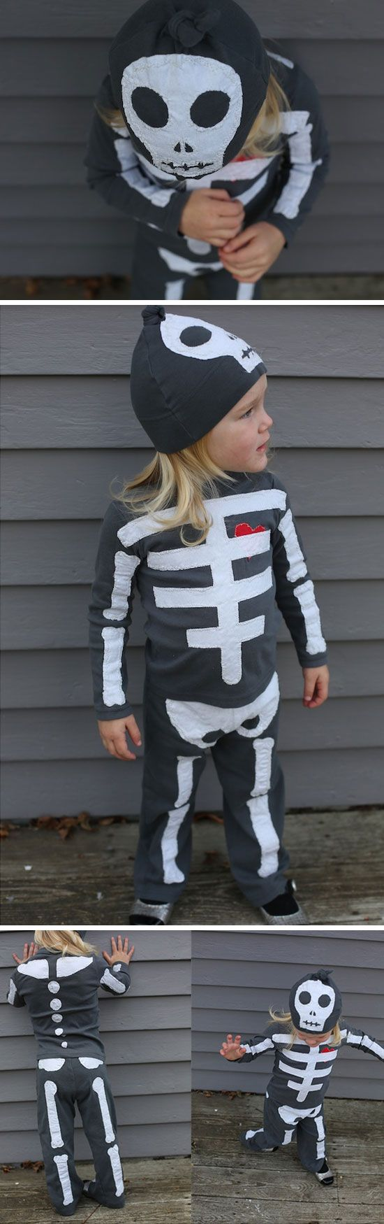 the hat! Skeleton Costume | Click for 30 DIY Halloween Costumes for Kids to Make | DIY Halloween Costumes for Toddlers #provestra