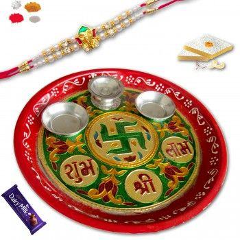Divine Shagun Rakhi Thali with Mauli Rakhi @http://www.rakhistoreonline.com/