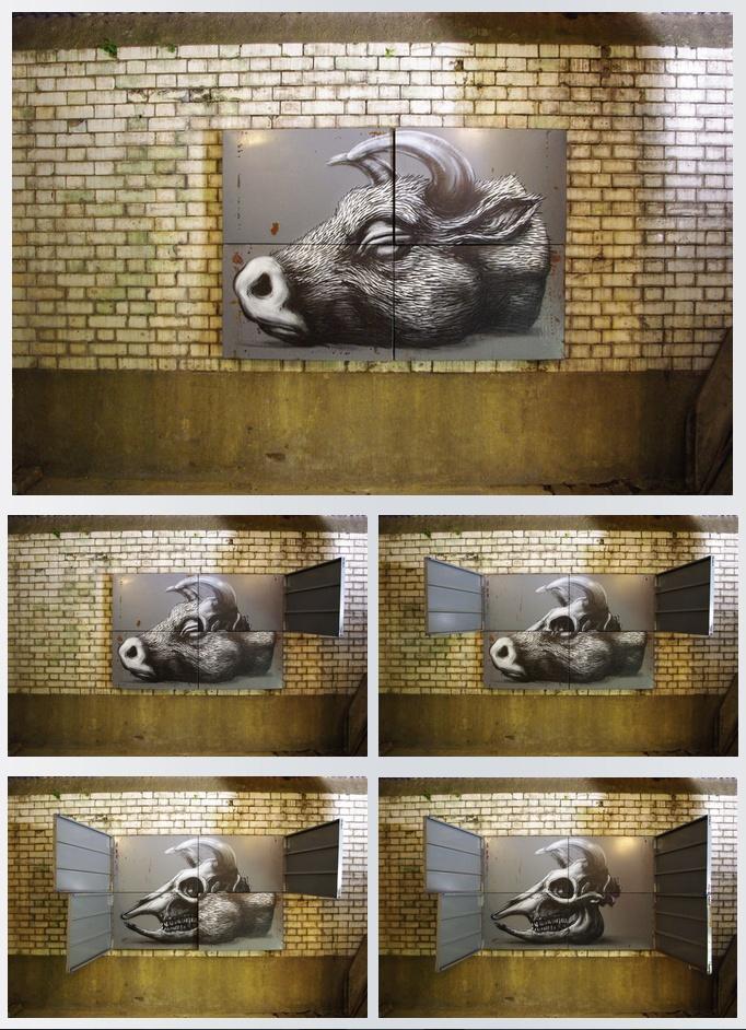 by Roa, Belgium Graffiti, Muurschildering, Artiesten