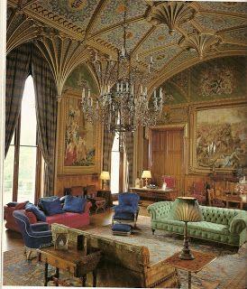 Sala de Dibujo del castillo de Eastnor, Ledbury (Reino Unido). Decorada por A. W. N. Pugin en 1814 según el estilo gótico perpendicular, con bóvedas de abanico. El siglo XIX se caracteriza por estos neomedievalismos. #Esmadeco.