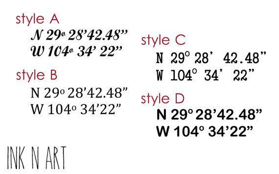 Set of 2 Custom Latitude Longitude Coordinate tattoo by InknArt ...