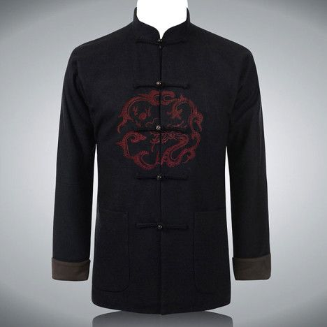Circle dragon embroidered mandarin collar Chinese style jacket for men