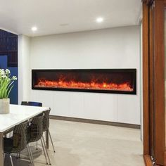 "Amantii Panorama Series Built-in Wall Mount Electric Fireplace Size: 15.88"" H x 88.13"" W x 12"" D"