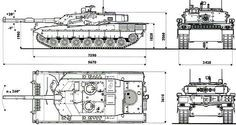 C1 Ariete Main Battle Tank, Italy  Line drawings of the C1 Ariete main battle tank showing measurements and dimensions.