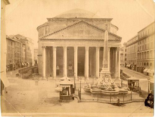 Italie-Roma-Il-Panteon-Vintage-albumen-print-Tirage-albumine-18x24-Ci