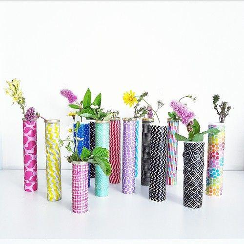 Diy/pyssel- färgglada vaser