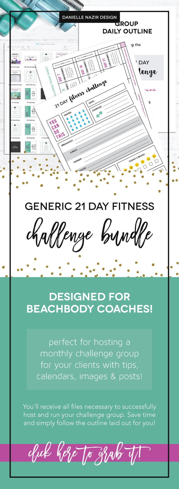 Coach Group Bundle : 21 Day Fitness Challenge // Are you a coach? Need a quick kit to host a generic or free 21 day fitness challenge? This will include a daily posting outline along with images, point sheet, tracking sheet and more to keep your challengers engaged and motivated to reach their goals!! // beachbody coach // fitness challenge // 21 day group // coach resource // 21 day challenge group // beachbody challenge group // coaching resource // coach bundle kit // workout challenge…