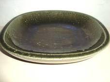 PALSHUS dish - Annelise and Per Linnemann-Schmidt - made in chamotte. H: 6 cm og/and 24 x 26,5 cm. From 1950s.  #Palshus #Linnemann #Schmidt #chamotte #stoneware #ceramics #Danish #dish #fad #lamp #tilsalg #forsale on www.klitgaarden.net