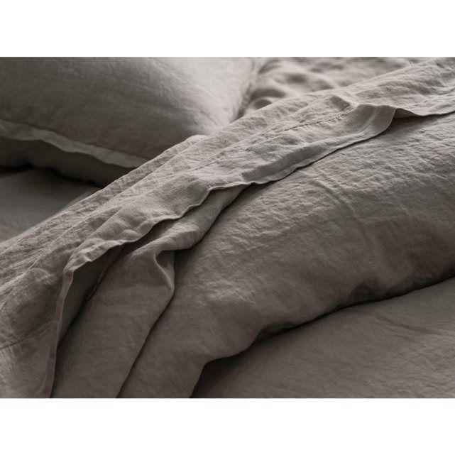 Drap plat - lin lavé - uni couleur lin BLANC CERISE