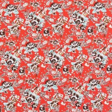 Print Viscose Poplin Fabric Peach 137cm