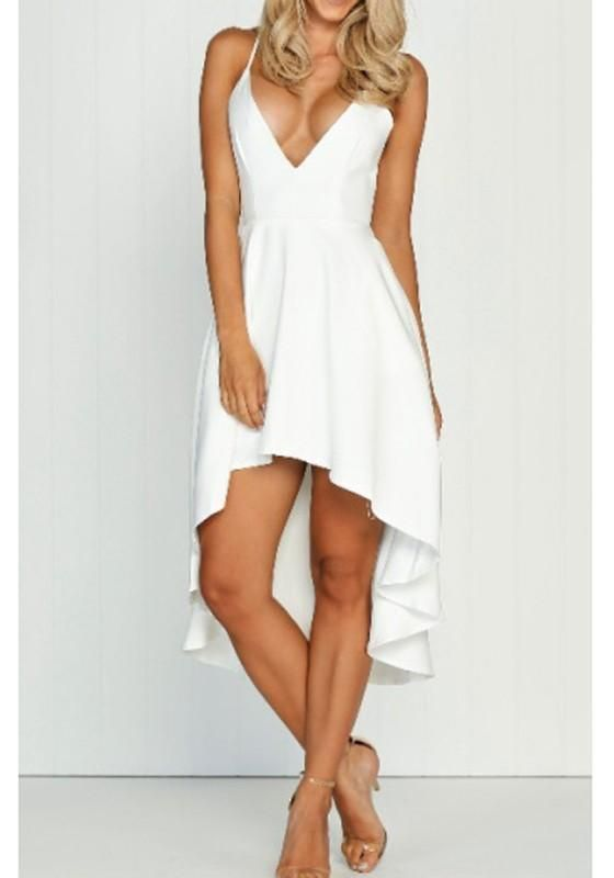 f1fa590f3 White Draped Swallowtail High-low Spaghetti Strap Deep V-neck Homecoming  Party Midi Dress