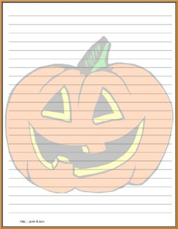 Framed funny halloween pumpkin carving background regular lined stationery paper, free printable Halloween stationery