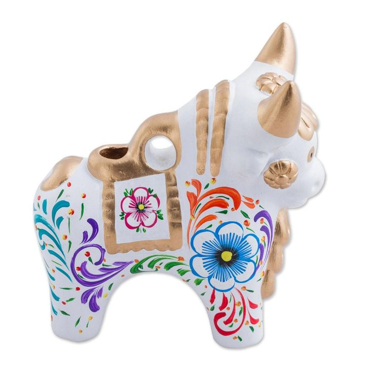 Handcrafted ceramic 'Colorful Maximino' Pucara Bull | Latitudes Décor – Latitudes Decor