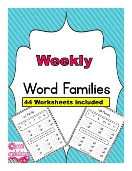 This is great for Weekly Word Work, centers, homework etc. - Word Families #spelling #education #teachers $