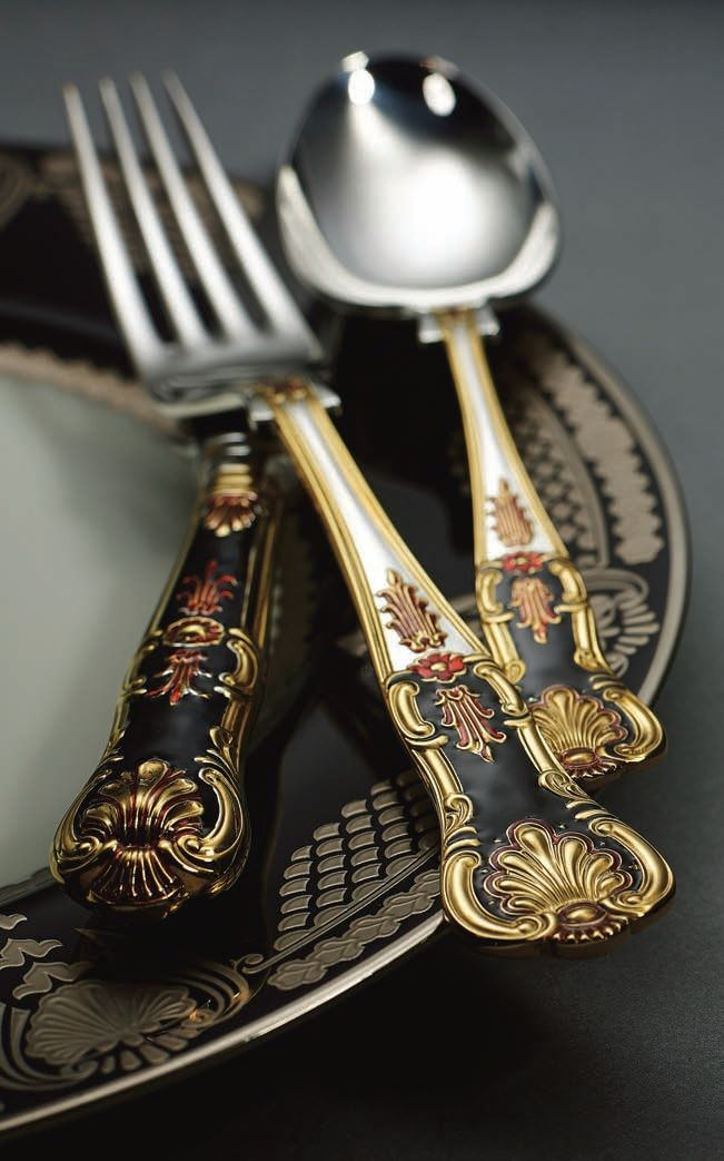 For that special occasion! – 24 carat gold plated & hand applied enamel silver cutlery – Anastasia special limited edition from Royal Buckingham. #gold #silverware #cutlery L.STYLE