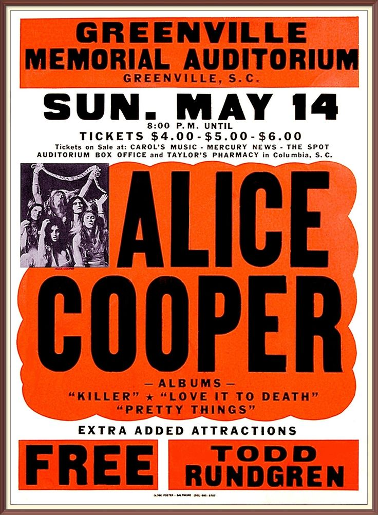 14 alice cooper free todd rundgren usa greenville memorial auditorium db. Black Bedroom Furniture Sets. Home Design Ideas