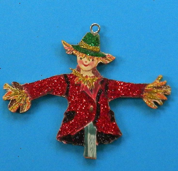 Scarecrow Stuffed With Straw Glittered Halloween Ornament Vtg Greeting Card