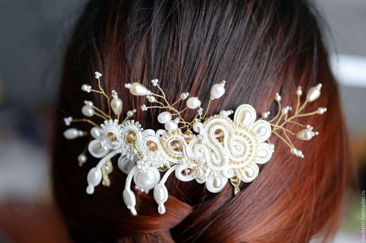 """Купить Гребень """"Luna di miele"""" - macherrr, wedding, wedding accessories, гребень для волос, гребень"""