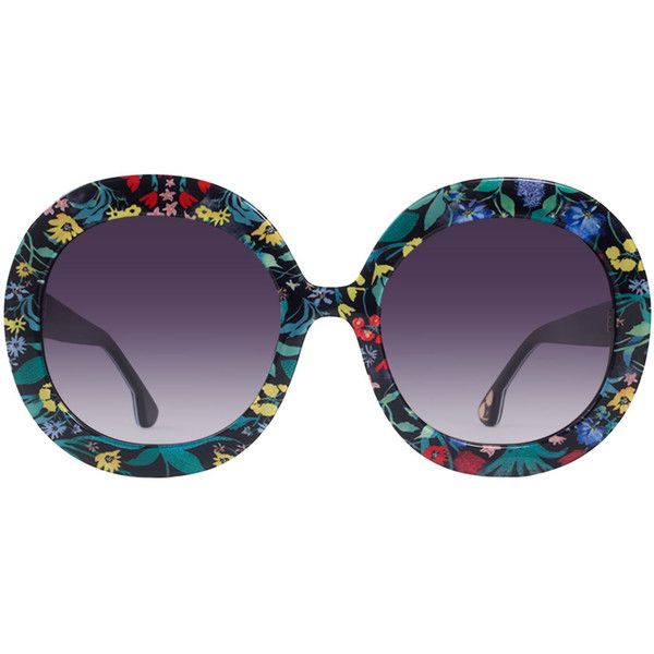 Alice + Olivia Melrose Round Floral Sunglasses ($295) ❤ liked on Polyvore featuring accessories, eyewear, sunglasses, multi, rounded glasses, acetate glasses, round sunglasses, rounded sunglasses and round lens sunglasses