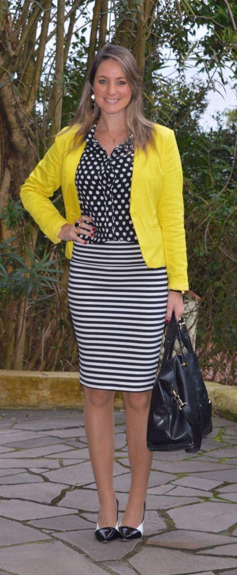 Look de trabalho - look do dia - moda corporativa - fall outfit - winter outfit - look de frio - look de inverno  - mix de estampas - mix And match - poá e listras - blazer amarelo - stripes - dots - yellow