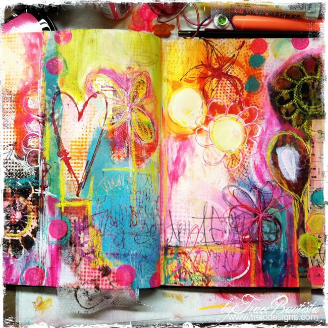 ArtJOURNALINGfridays_jump-in_byTraciBautista- lay down numerous stencils and spray ink for background. Could improvise and use items around house....pony tail holder, 6 pack plastic thing, and cut circle stencils from non slip cabinet liner.
