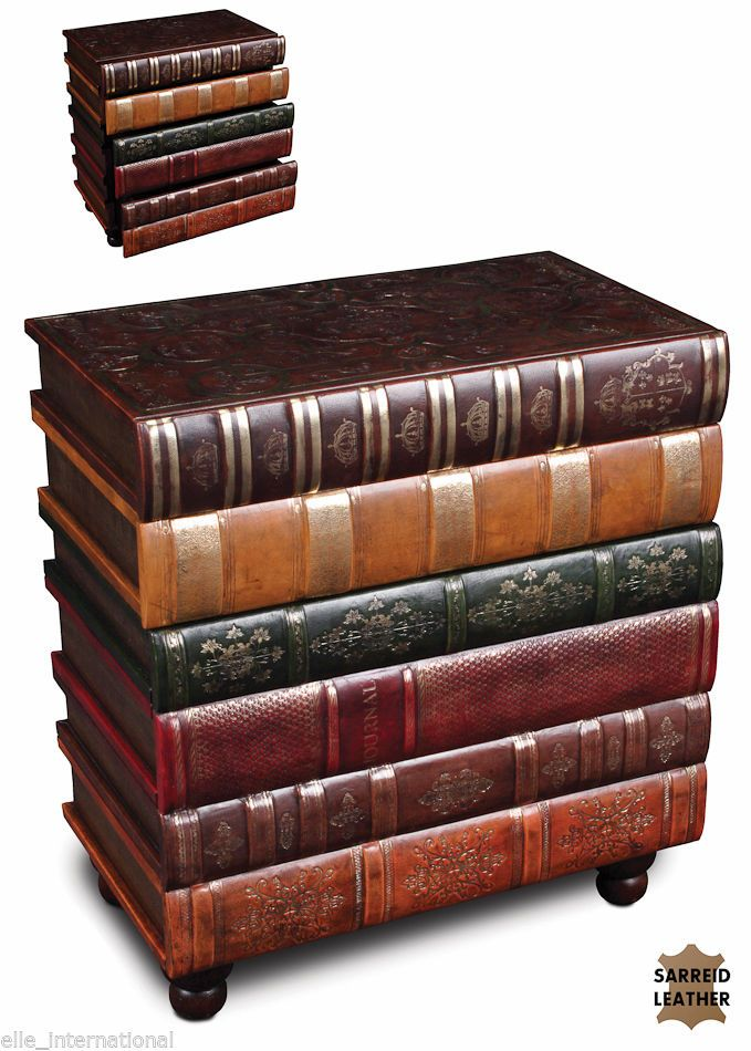Chest Books Storage Drawers Leather Hardwood Velvet Lined New Ships Free