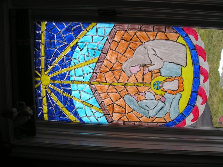 2005 Religous stained glass Manger