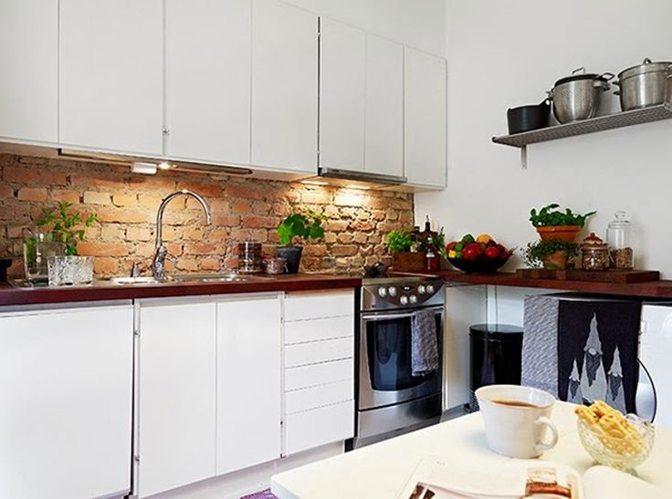 Backsplash Ideas For Butcher Block Countertops Part - 45: Small Apartment Kitchen Design With Bricks Backsplash And Stainless Steel  Open Shelf And Butcherblock Countertop : Small Apartment Kitchen Design  Ideas