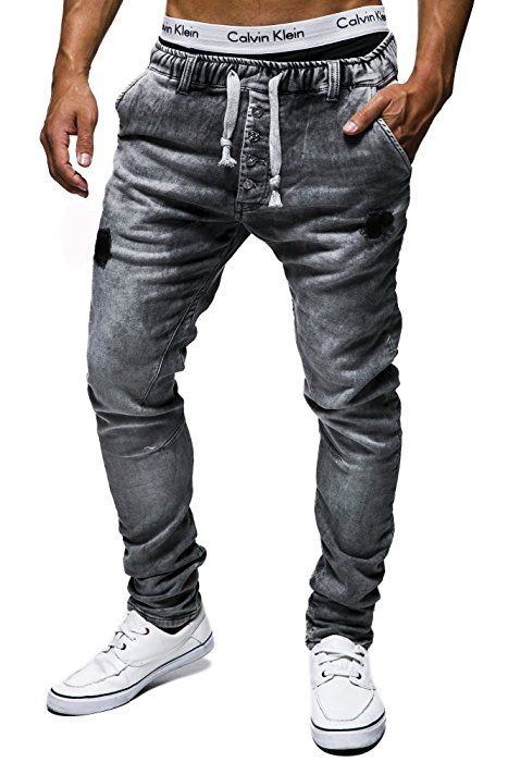 LEIF NELSON LN1405-3399GR Men's Jogg Jeans / Casual Trousers - Grey - W31/L34