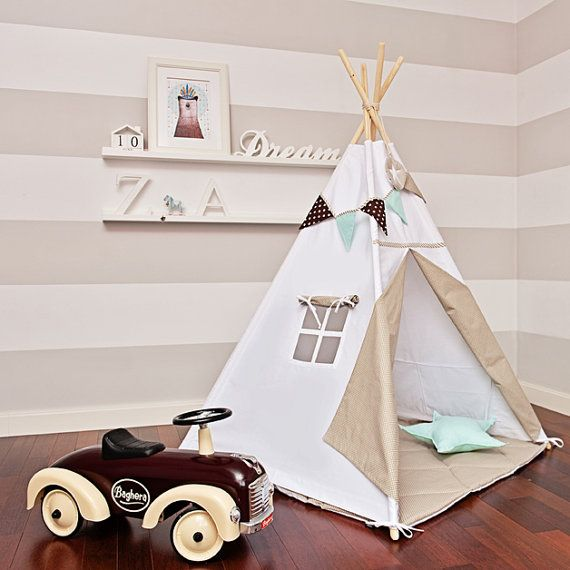 Teepee Kids Play Tent Tipi - Scandinavian White