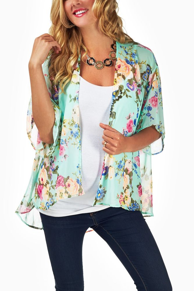 Mint-Green-Neon-Floral-Print-Sheer-Maternity-Cardigan #maternity #fashion