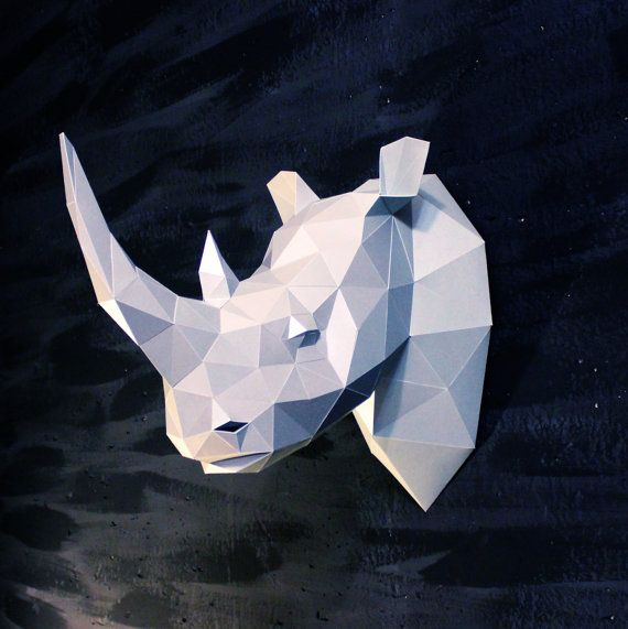 Papercraft rhino head  printable DIY template 7 by WastePaperHead