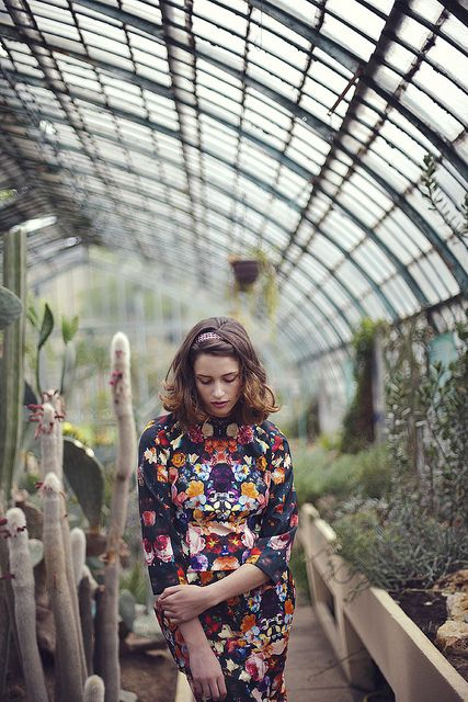 great use of a floral print inside a greenhouse - and look at those delicious lines!