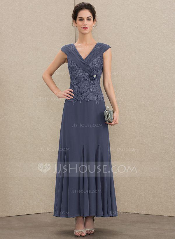 ba4a3880afc009 A-Linie V-Ausschnitt Knöchellang Chiffon Spitze Kleid für die Brautmutter  mit Rüschen Perlstickerei