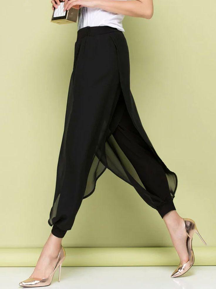 Para mujer de la gasa elegante negro pantalones Harem flojos mujeres de verano Ethereal moda Baggy Hippie