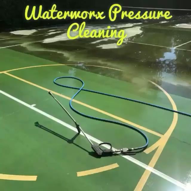 Tennis court cleaning by www.waterworxpressurecleaning.com.au